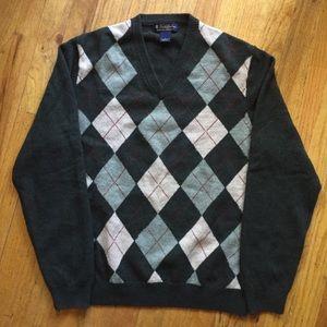 Brooks Brothers lambs wool argyle vneck sweater